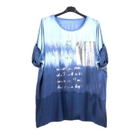 Жіноча туніка з темно-синьою сріблястою буквою - Блуза 1