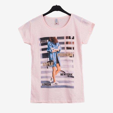 Жіноча футболка з світло-рожевим кольором з принтом - Блузки 1