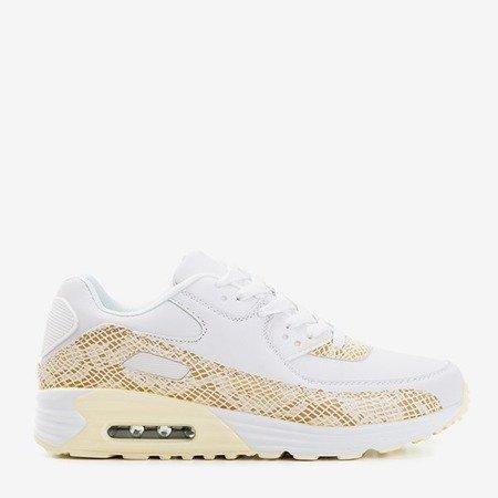 Жіноче біле спортивне взуття з бежевими вставками зі зміїної шкіри Silada - Взуття