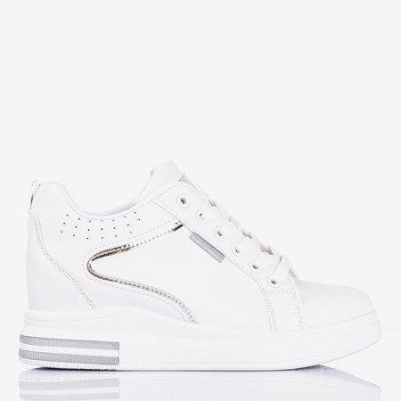 Жіночі білі та срібні кросівки на внутрішньому танкетці Marcja - Взуття