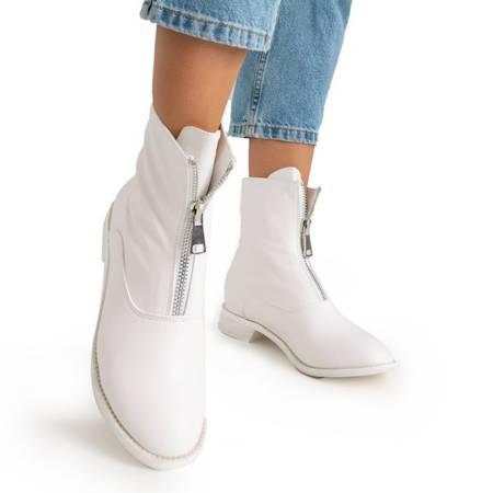 Жіночі білі чоботи на підборах Клюнія - Взуття