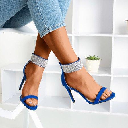 Жіночі кобальтові босоніжки на вищому каблуці з фіанітами Klison - Взуття