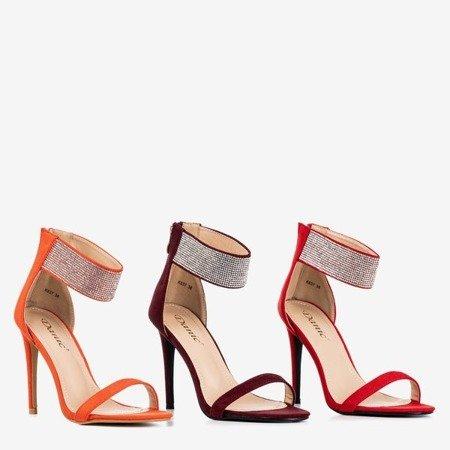 Жіночі помаранчеві босоніжки на високому каблуці з фіанітом Klison - Взуття