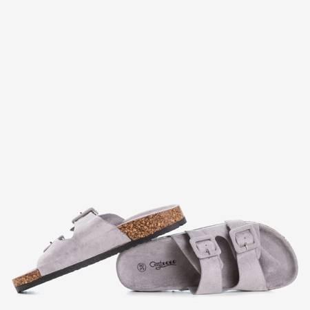 Жіночі світло-сірі шльопанці з пряжками Recasa - Взуття 1