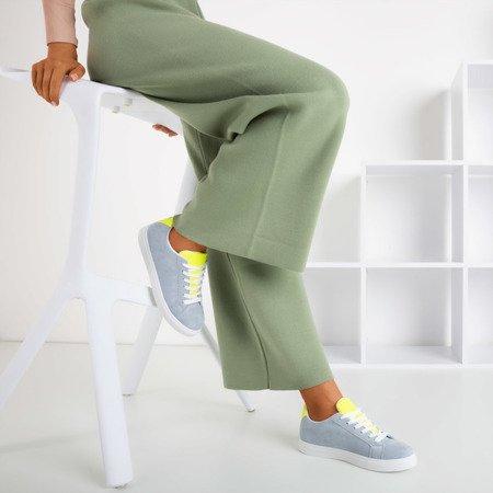 Жіночі сірі кросівки з неоново-жовтою вставкою Barielle - Взуття