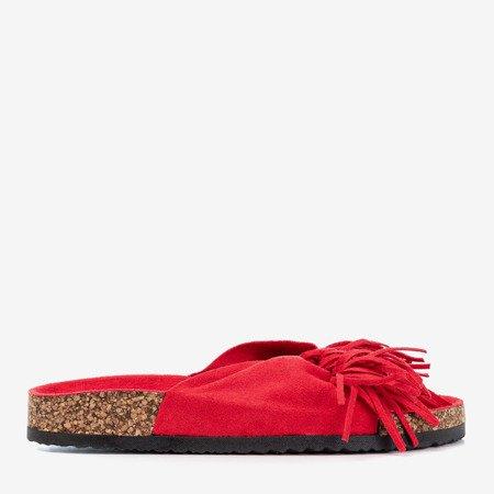Жіночі червоні тапочки з бахромою Amassa - Взуття