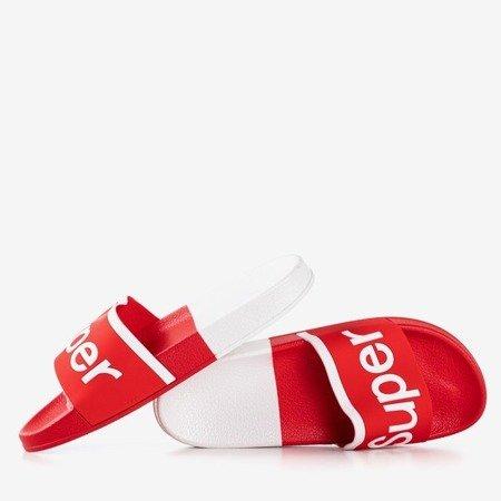 Жіночі червоні тапочки з написом Super - Взуття