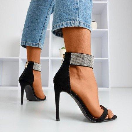 Жіночі чорні босоніжки на високому каблуці з фіанітом Клісон - Взуття