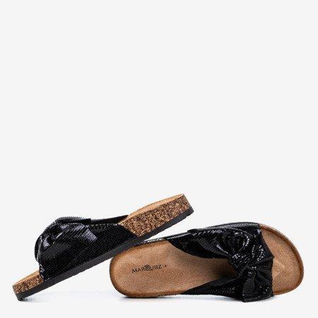 Жіночі чорні тапочки з бантом Isydora - Взуття