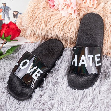Жіночі чорні тапочки з написом HATE & LOVE - Взуття