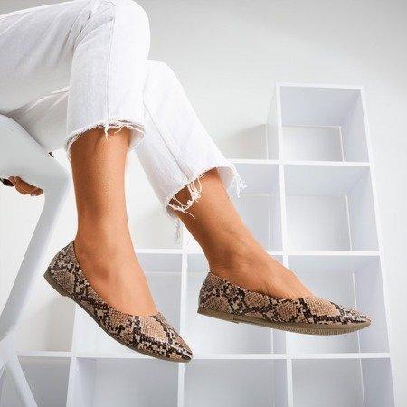 Коричнева балерина з шкіри зі змією шкіри Lilla - Взуття 1