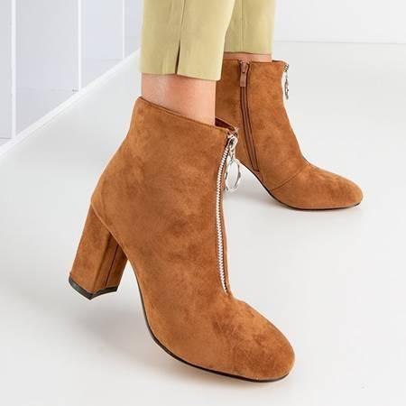 Коричневі жіночі ботильйони на підборах Veluwa  - Взуття