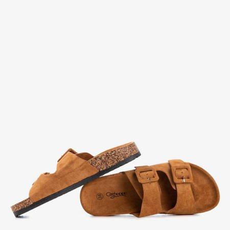 Коричневі жіночі шльопанці з пряжками Recasa - Взуття 1