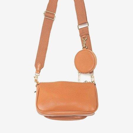 Маленька жіноча сумочка з трьома частинками коричневого кольору - Сумки