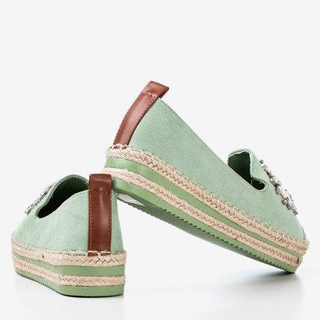 М'ятні еспадрилі на платформі зі стразами Mraque - Взуття 1