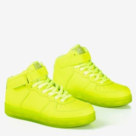 Неоново-зелене дитяче високе спортивне взуття Cooper - Взуття