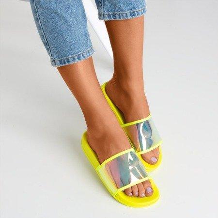 Неонові жовті тапочки з голографічною смужкою Activi - Взуття