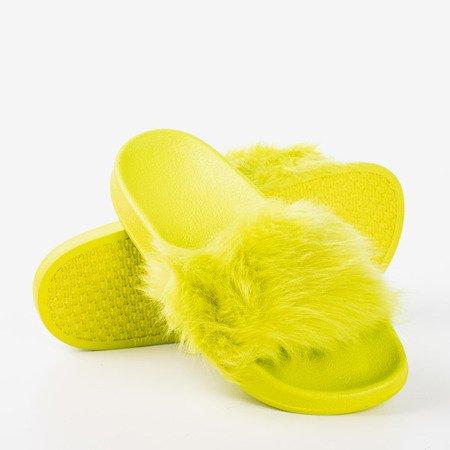 Неонові зелені тапочки з хутром Millie - Взуття