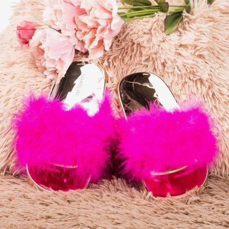 Неонові рожеві шльопанці з хутром Lovia - Взуття 1