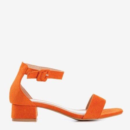 Помаранчеві жіночі босоніжки на низьких підборах Torita - Взуття 1