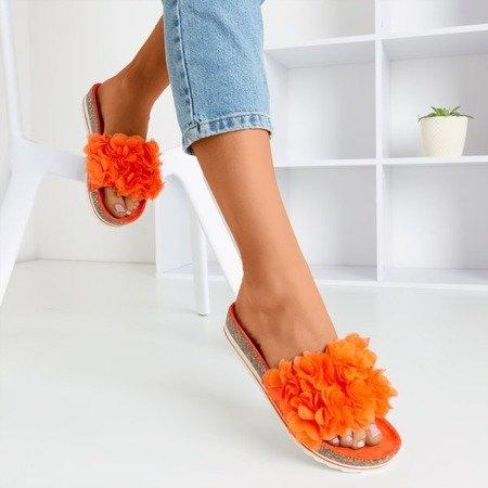 Помаранчеві жіночі тапочки з квітами Mastina - Взуття 1