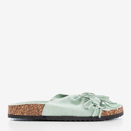Світло-зелені жіночі тапочки з бахромою Amassa - Взуття