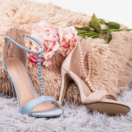 Світло-сині босоніжки на більш високій каблуці Настула - Взуття 1