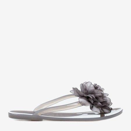 Світло-сірі шльопанці з квітами Dormeque - Взуття 1