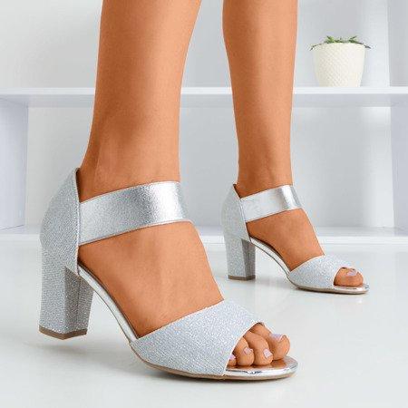 Срібні жіночі босоніжки на високій посаді Megsa - Взуття 1