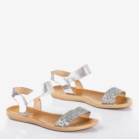 Срібні жіночі плоскі босоніжки Brocella - Взуття 1