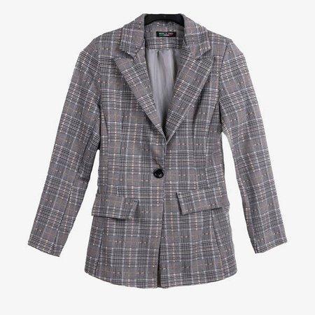 Сірий жіночий картатий костюм - Одяг 1