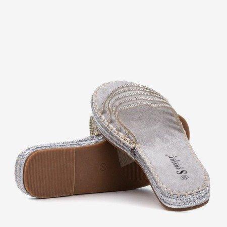 Сірі прозорі тапочки з фіанітами Noumeia - Взуття