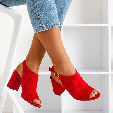 Червоні ажурні босоніжки на вищій стійці Solana - Взуття