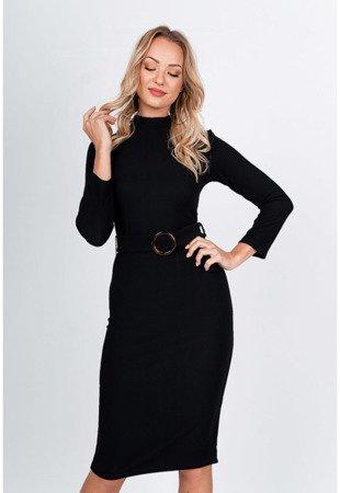 Чорне плаття міді з поясом - Одяг