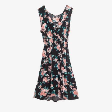 Чорне плаття над коліном з квітами - Одяг 1