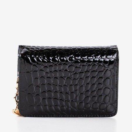 Чорний стьобаний гаманець з екологічної шкіри - Гаманець