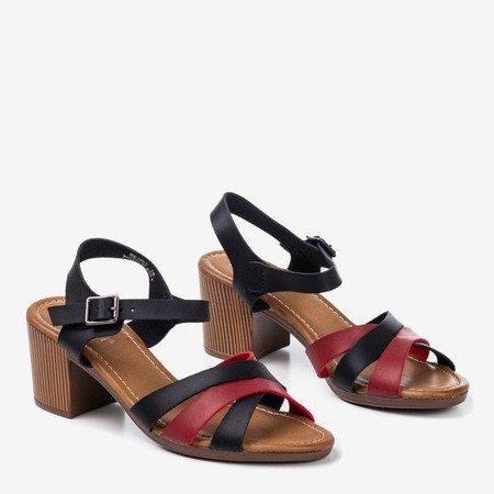 Чорні босоніжки на вищій стійці з різнокольоровими смужками Sanica - Взуття