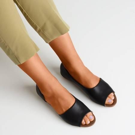 Чорні жіночі босоніжки на низькому клині Damola - Взуття 1