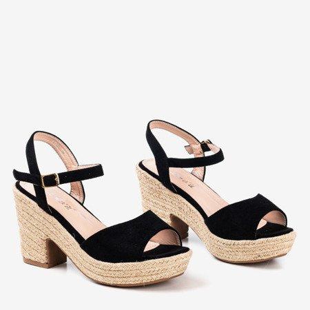 Чорні жіночі босоніжки на підборі Цукровий мед - Взуття 1