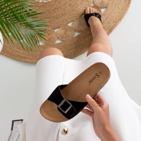 Чорні жіночі тапочки на пряжці Mosiu - Взуття