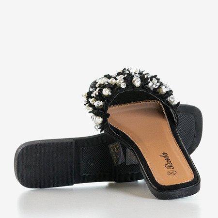 Чорні шльопанці з прикрасами Mollie - Взуття 1