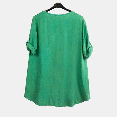жіноча зелена туніка з принтом та написами - Блузки 1