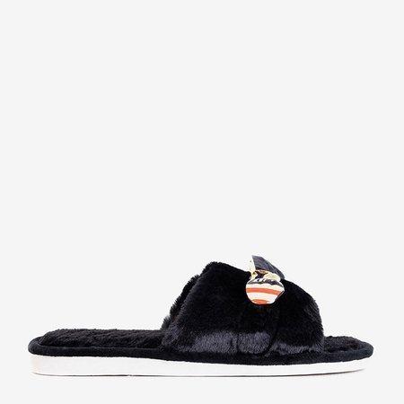 Чорні жіночі хутряні тапочки Worren - Взуття
