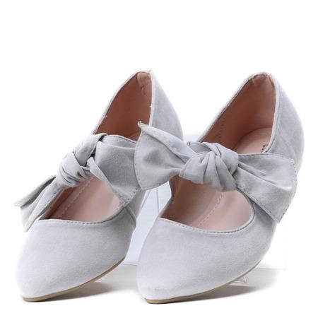 Jasnoszare balerinki z kokardką Julianna - Obuwie