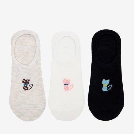 Різнокольорові жіночі шкарпетки з принтом 3/уп. - Шкарпетки