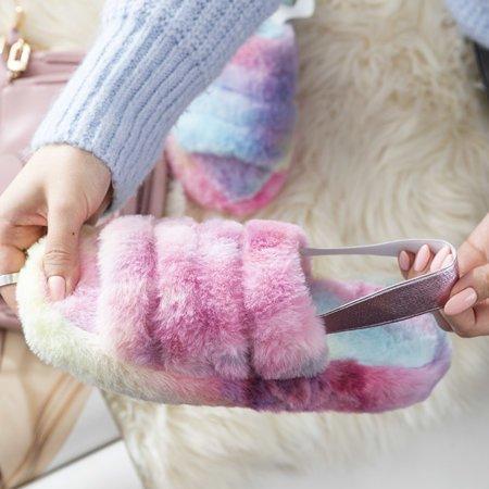 Різнокольорові жіночі тапочки з хутром Fornax - Взуття