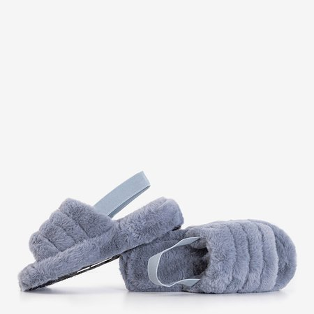 Сірі жіночі тапочки з хутром Fornax - Взуття