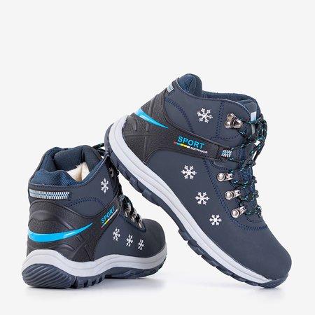 Темно-сині утеплені черевики з орнаментом Aliza - Взуття
