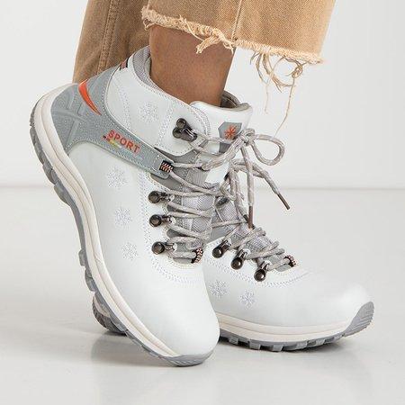 Жіночі білі утеплені черевики з орнаментом Aliza - Взуття