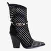 Чорні ажурні ковбойські черевики з прикрасами Hronda - Взуття